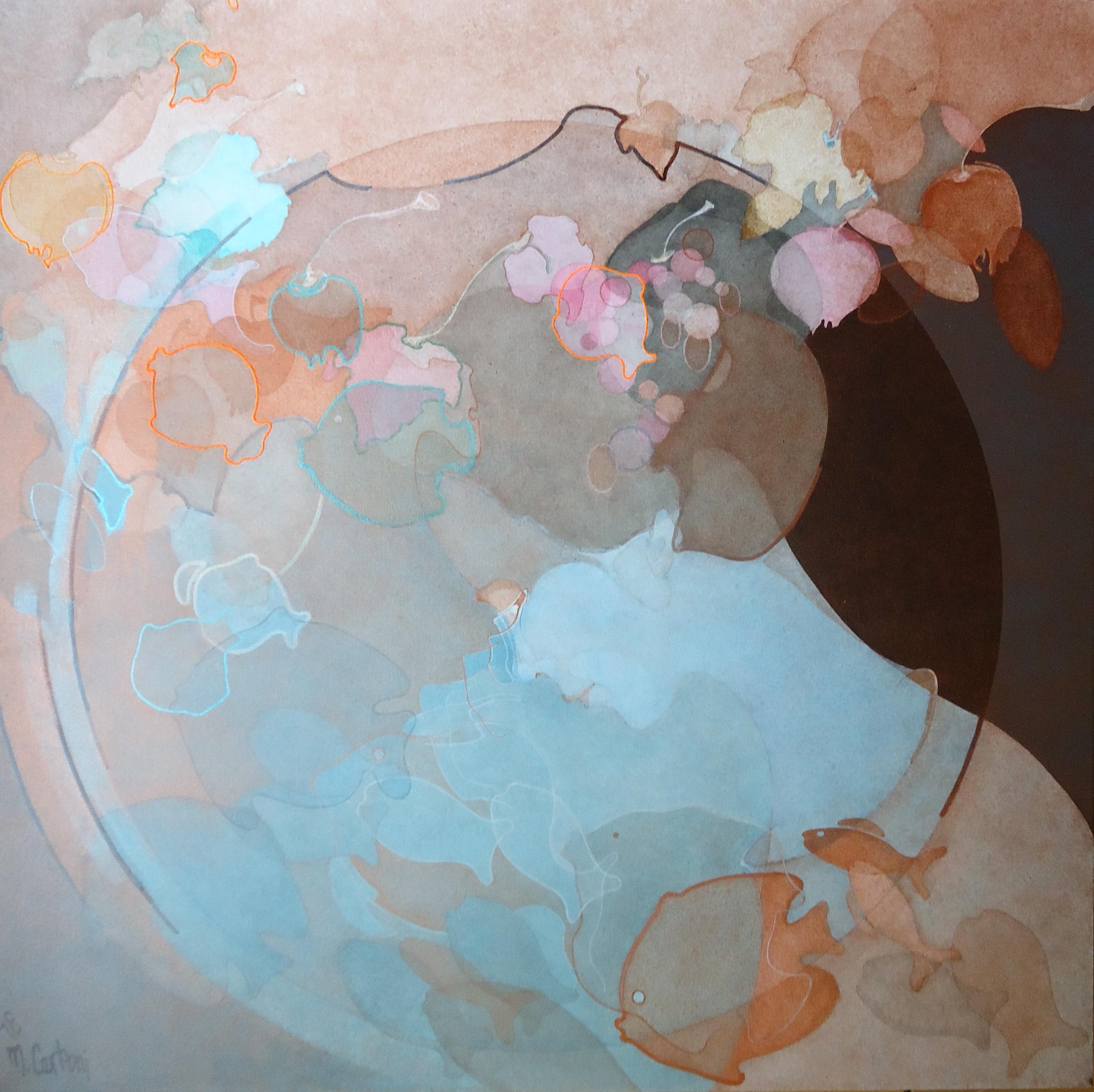 Donna di mare e di terra 2018, acrilico su tela, 100x100cm