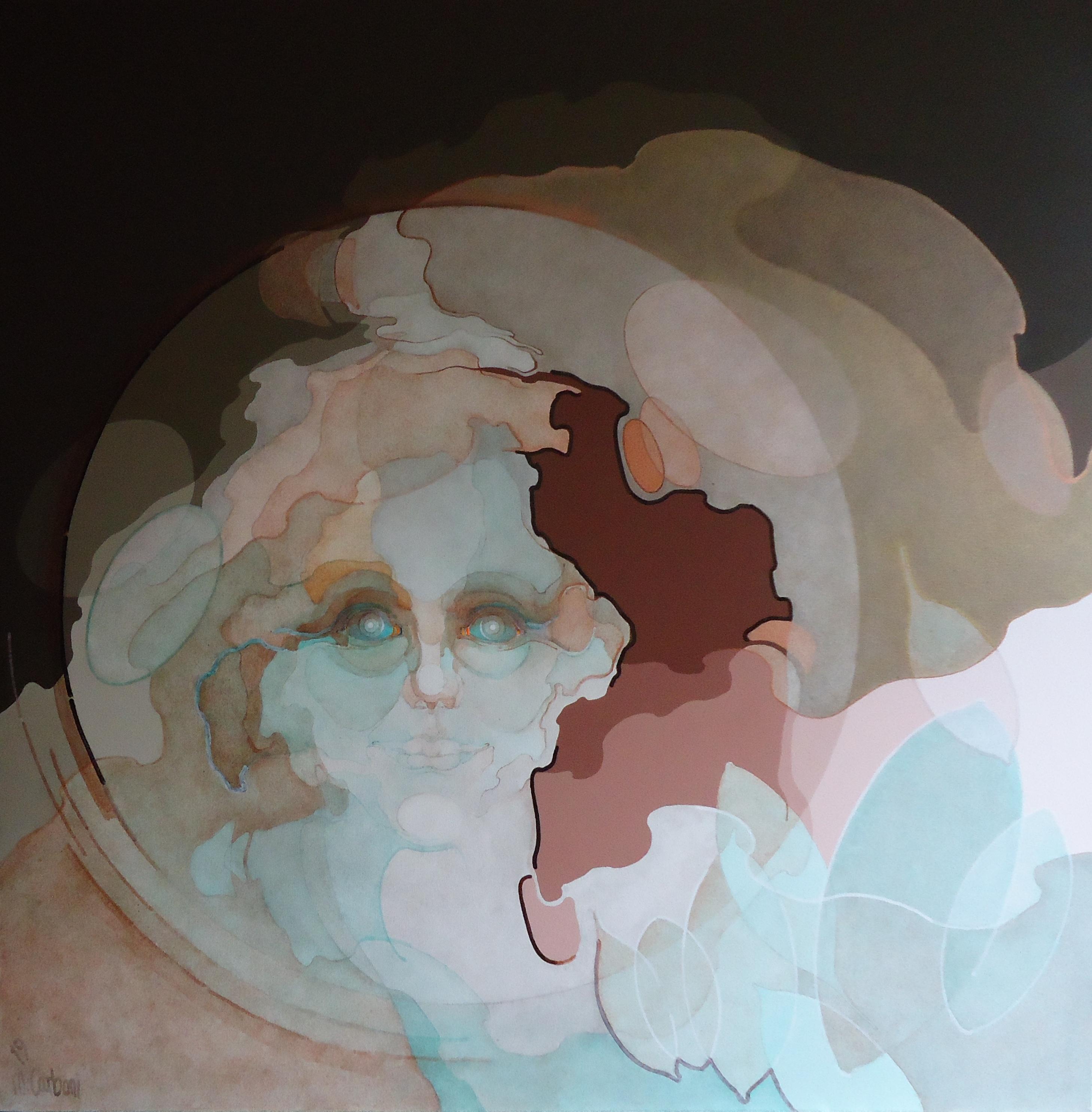 Ninfa della corteccia 2019, acrilico su tela, 100x100cm